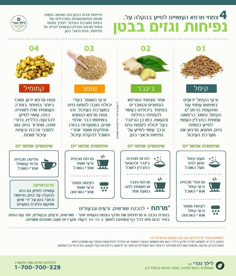 צמחי מרפא להקלה על נפיחות וגזים בבטן