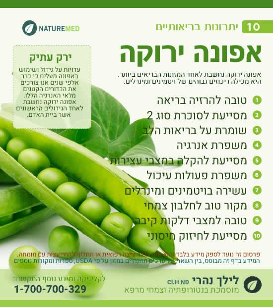 אפונה ירוקה - יתרונות בריאותיים