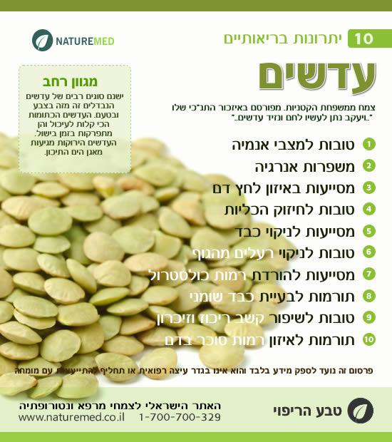 עדשים - 10 יתרונות בריאותיים
